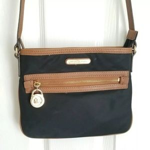 Michael Kors Kelsey Nylon Black Crossbody Bag Adju